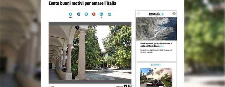"""Corriere, il """"Cortile delle Magnolie"""" tra i 100 buoni motivi per amare l'Italia"""