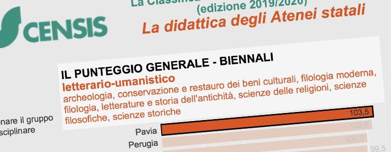 Classifica Censis, ottima valutazione per l'Università di Pavia. Prima per le magistrali letterario-umanistiche